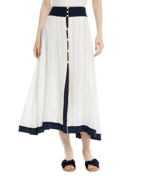 ZEUS AND DIONE Contrast-Trim Button-Front Silk Midi Skirt in Ivory