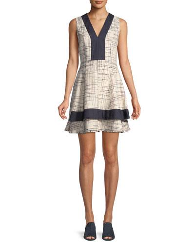 Tiered V-Neck Mini Dress w/ Denim Contrast