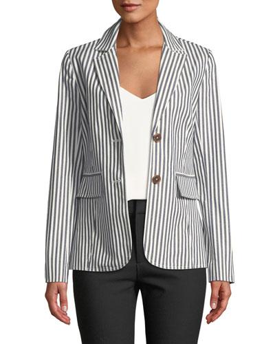 Striped Single-Breasted Cotton Blazer