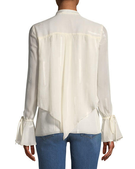 Layered Silk Bell-Sleeve Blouse