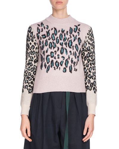 Leopard-Print Wool Pullover Sweater