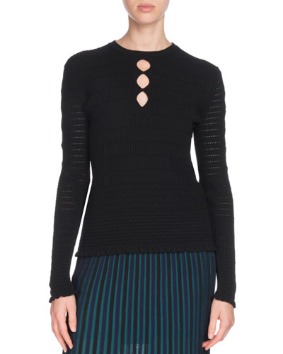 Fitted Knit Keyhole Sweater