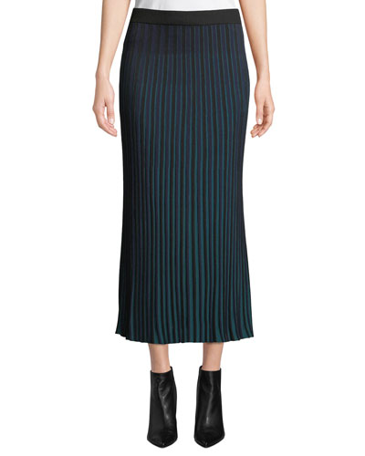 Striped Knit Pleated Midi Skirt