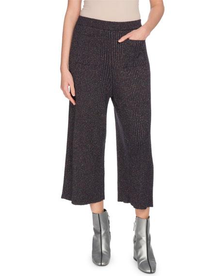 Kenzo Ribbed Metallic Pull-On Culotte Pants