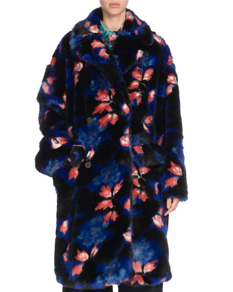 Oversized Floral-Print Faux-Fur Coat in Blue
