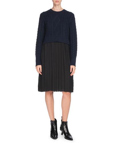 Mixed-Knit Pleated Long-Sleeve Dress