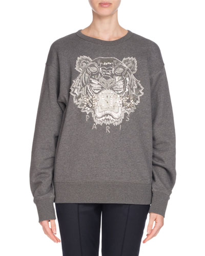 Embellished Tiger Logo Sweatshirt