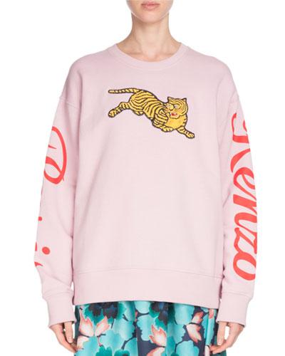 Jumping Tiger Graphic Crewneck Sweatshirt
