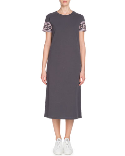 Sport Cotton Crewneck Logo-Sleeve Tee Dress