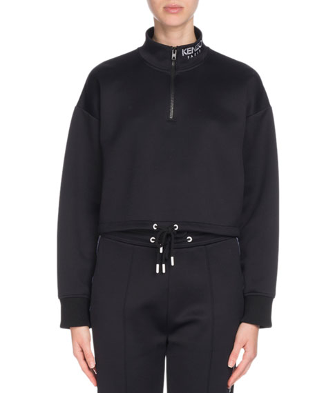 Sport Cropped Zip-Front Logo Sweatshirt in Black