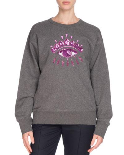 Sequin Eye Graphic Crewneck Sweatshirt