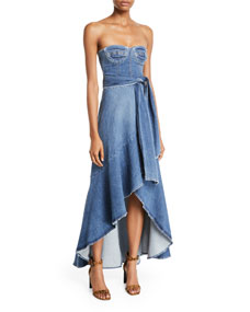Classic Denim Bustier Wrap Dress by Jonathan Simkhai