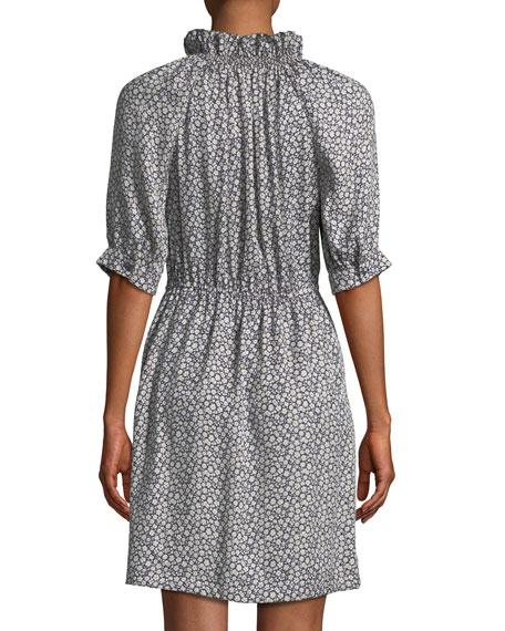 Lauren Floral 3/4-Sleeve Silk Mini Dress