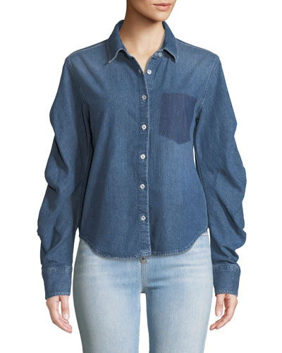Tucked-Sleeve Button-Front Denim Shirt