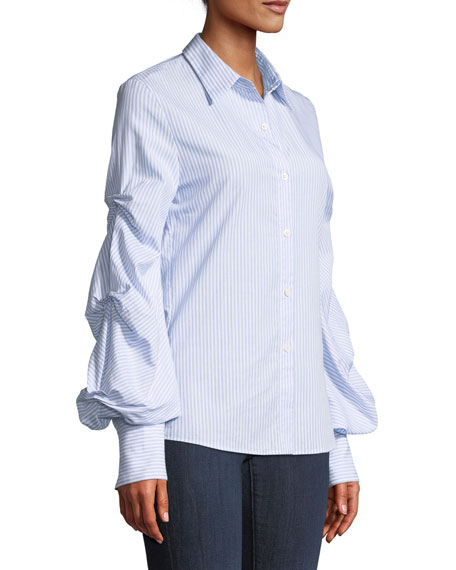 fa60aaab Jonathan Simkhai Striped Button-Down Top with Puff Sleeves