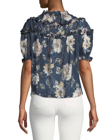Short-Sleeve Magnolia-Print Ruffle Top