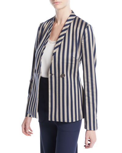 Structured Striped Cutout Blazer