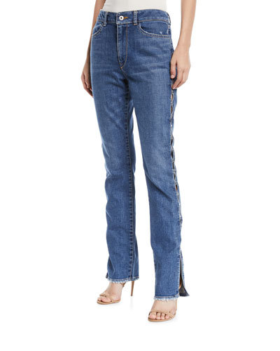 Stapled Side-Split Stovepipe Jeans