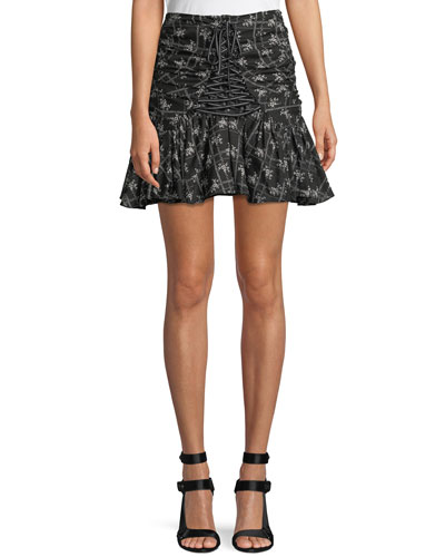 Amelia Ruched Floral Lace-Up Miniskirt