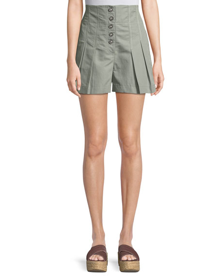 Pleated High-Waist Button-Up Shorts