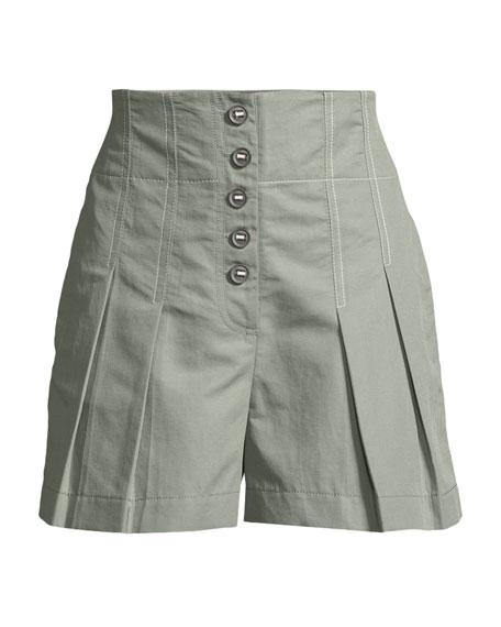 Pleated High-Waist Button-Up Shorts