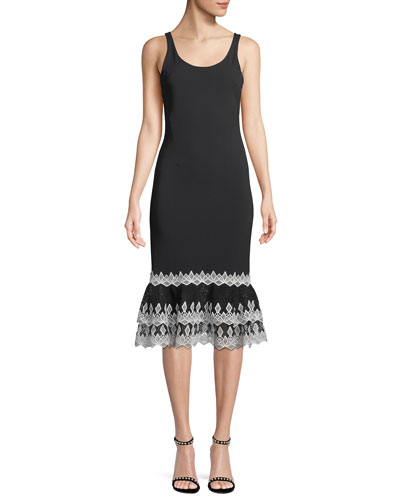 Diamond Crepe Applique Tank Dress