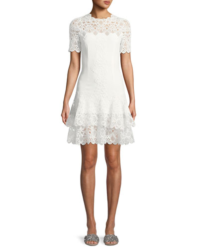 Lace Applique Mini Tee Dress