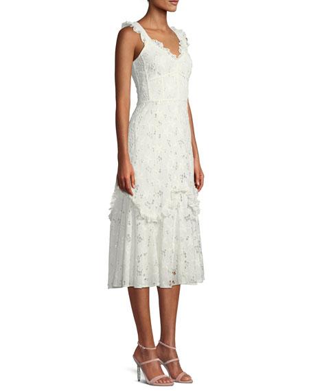70493baaea4e Rebecca Taylor Adriana Eyelet Lace-Up Midi Dress