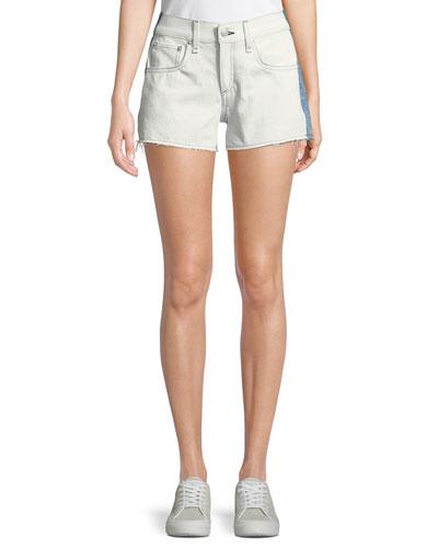 Two-Tone Cutoff Denim Shorts