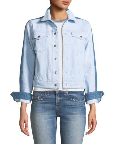Nico Two-Tone Snap-Front Denim Jacket