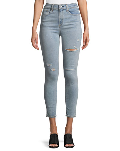 Distressed High-Rise Ankle Skinny Jeans