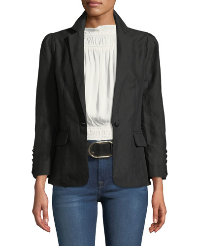 One-Button Pleated Linen Blazer