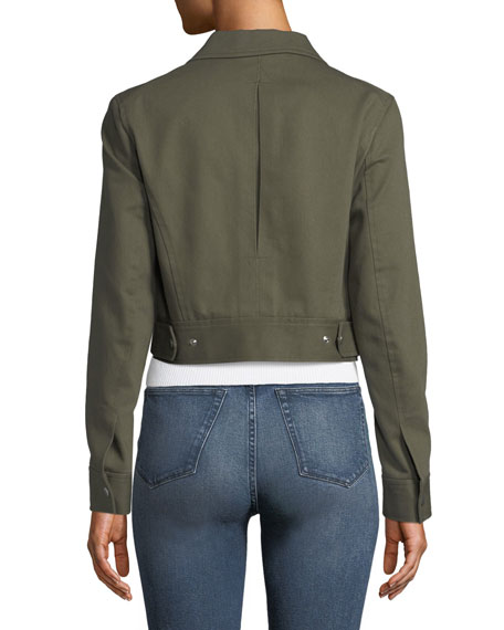 Pike Cropped Zip-Front Utility Jacket