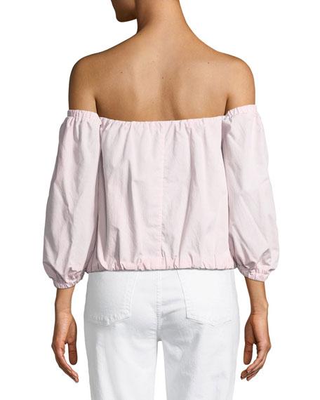 Off-the-Shoulder Puff-Sleeve Poplin Top