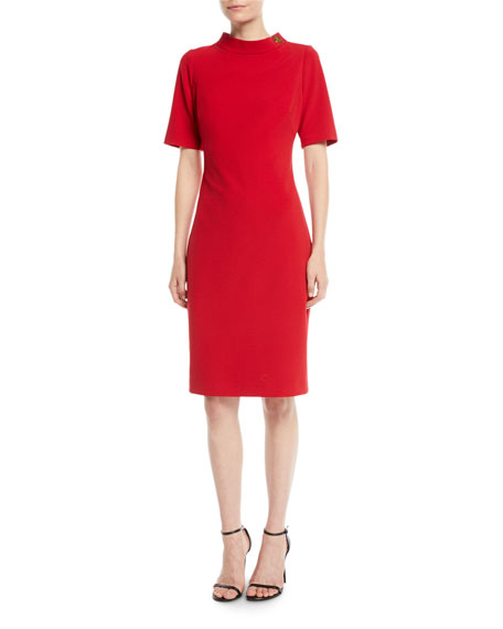 Badgley Mischka Collection Turn-Lock Faille Short-Sleeve Sheath