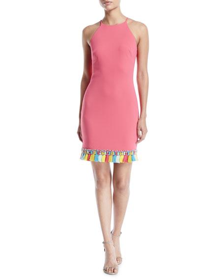 Badgley Mischka Collection Sleeveless Halter Dress w/ Tassel