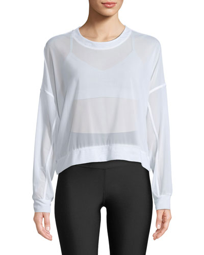 Ambience Long-Sleeve Mesh Pullover Top