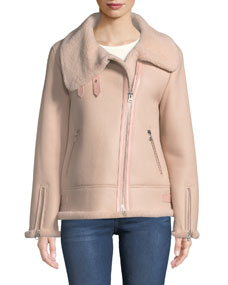 Zip Up Sheepskin Fur Moto Jacket by Mackage