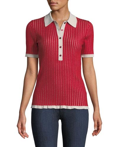 Short-Sleeve Cashmere-Silk Knit Polo Shirt