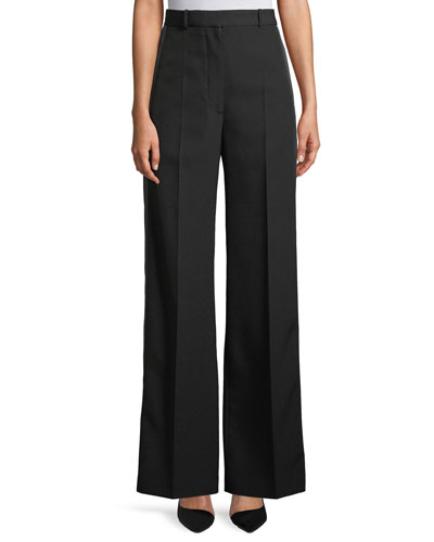 High-Waist Wide-Leg Wool Trousers