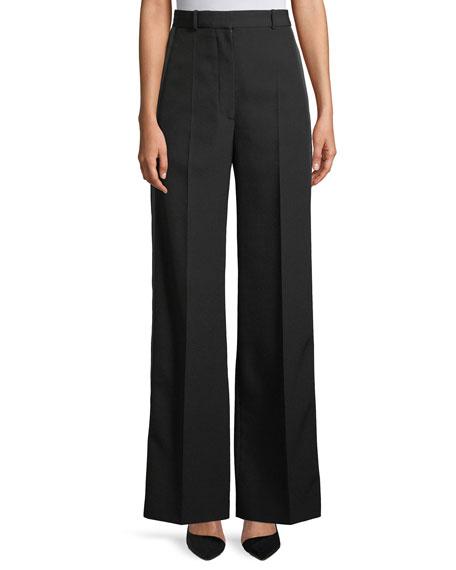 Burberry High-Waist Wide-Leg Wool Trousers