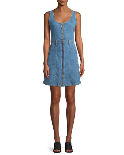 Zip-Front Denim Mini Dress