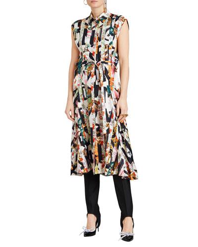 Sacha Printed Button-Front Midi Dress