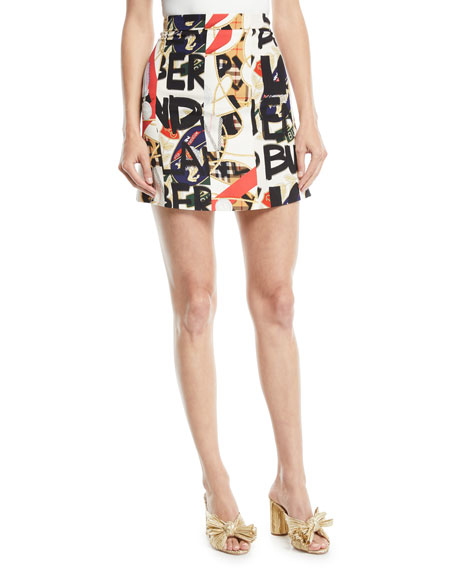 f28eafe47 Burberry Stanforth Short Archive Scarf & Graffiti-Print Skirt