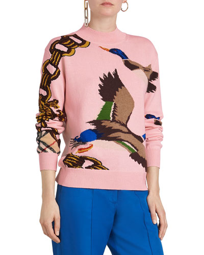 Duck Intarsia Pullover Sweater