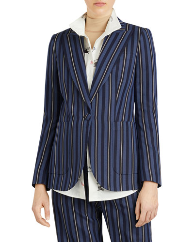 Queenspark Striped Wool/Silk Jacket