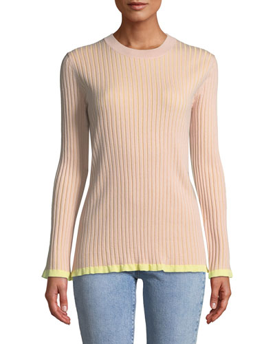 Long-Sleeve Two-Tone Ribbed Sweater