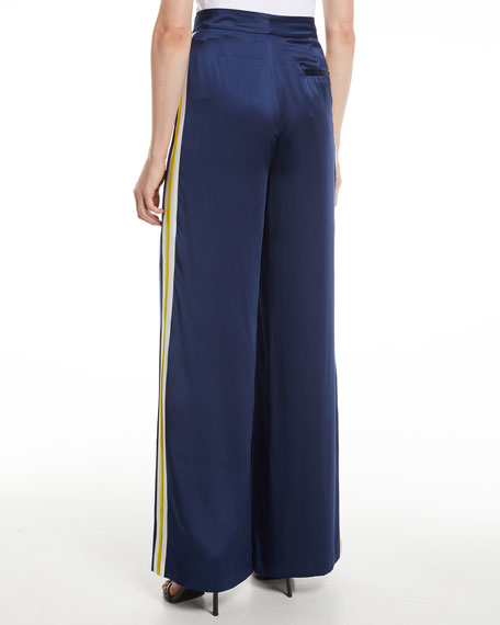 Nicoli Silk Side-Stripe Pants