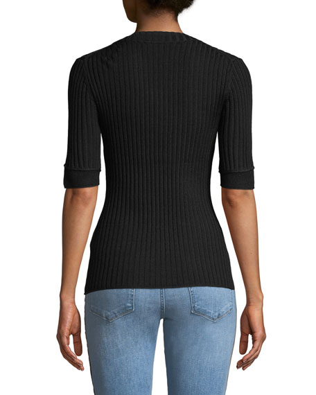 Ribbed 3/4-Sleeve Sweater w/ Button Details