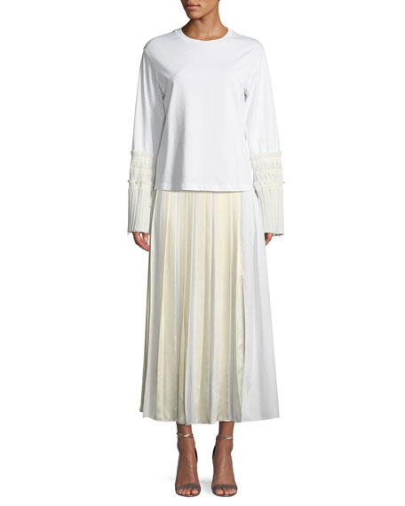 Pleated Cotton Poplin Maxi Skirt